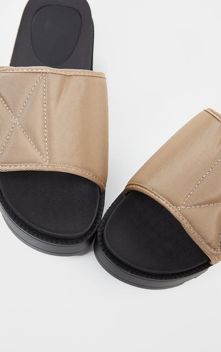 Taupe Velcro Strap Flatform Slider 3