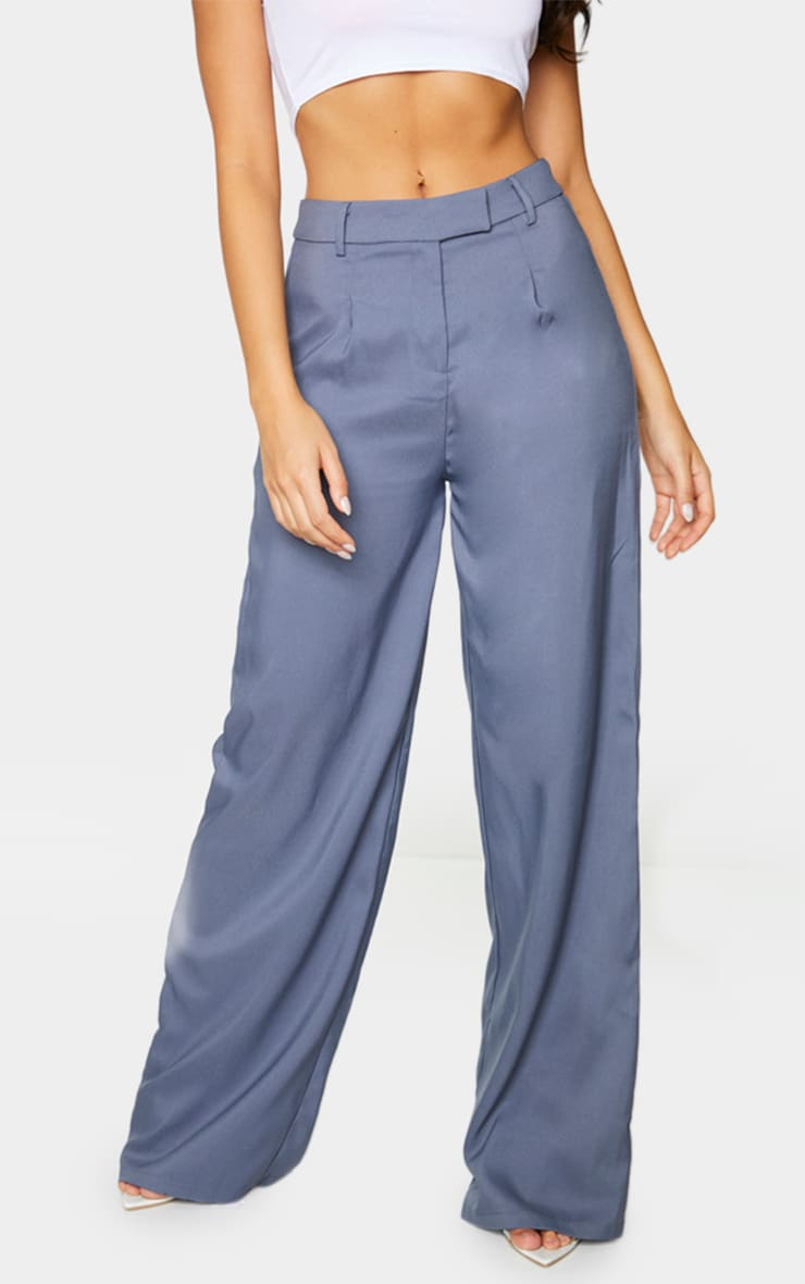Teal Woven Tailored Wide Leg Trousers 2