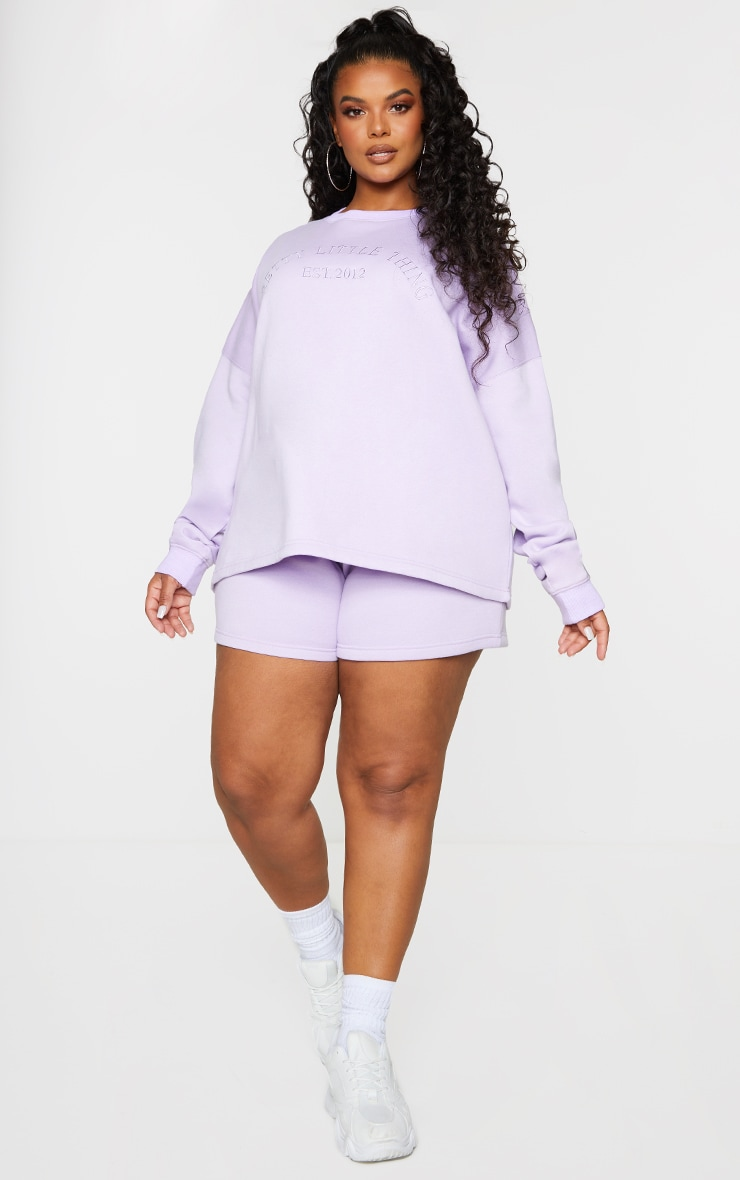 PRETTYLITTLETHING Plus Lilac Embroidered Oversized Sweater 3