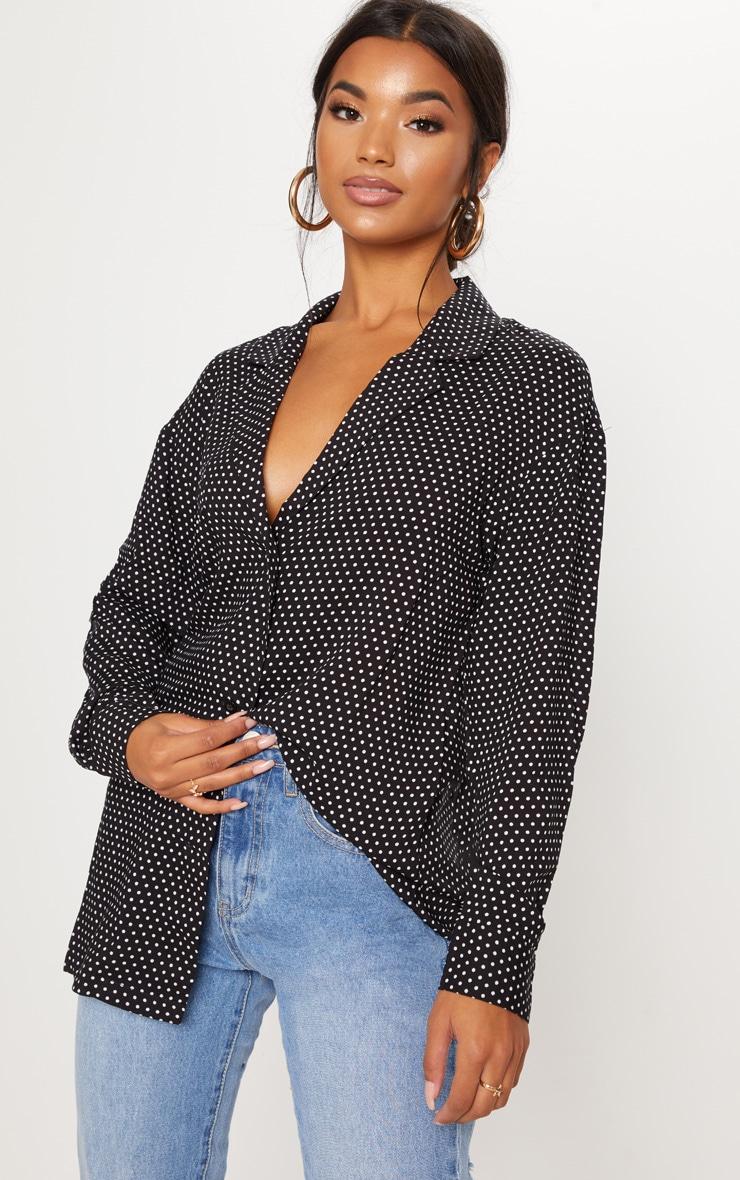 Chemise boutonnée noire à pois 4