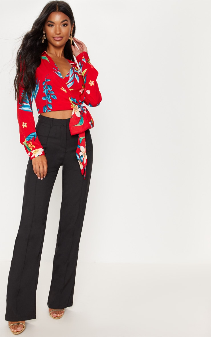 Red Floral Tie Waist Blouse 4