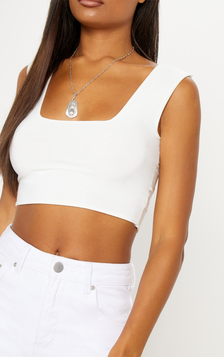 f35d98ca474b55 White Second Skin Slinky Square Neck Crop Top image 4