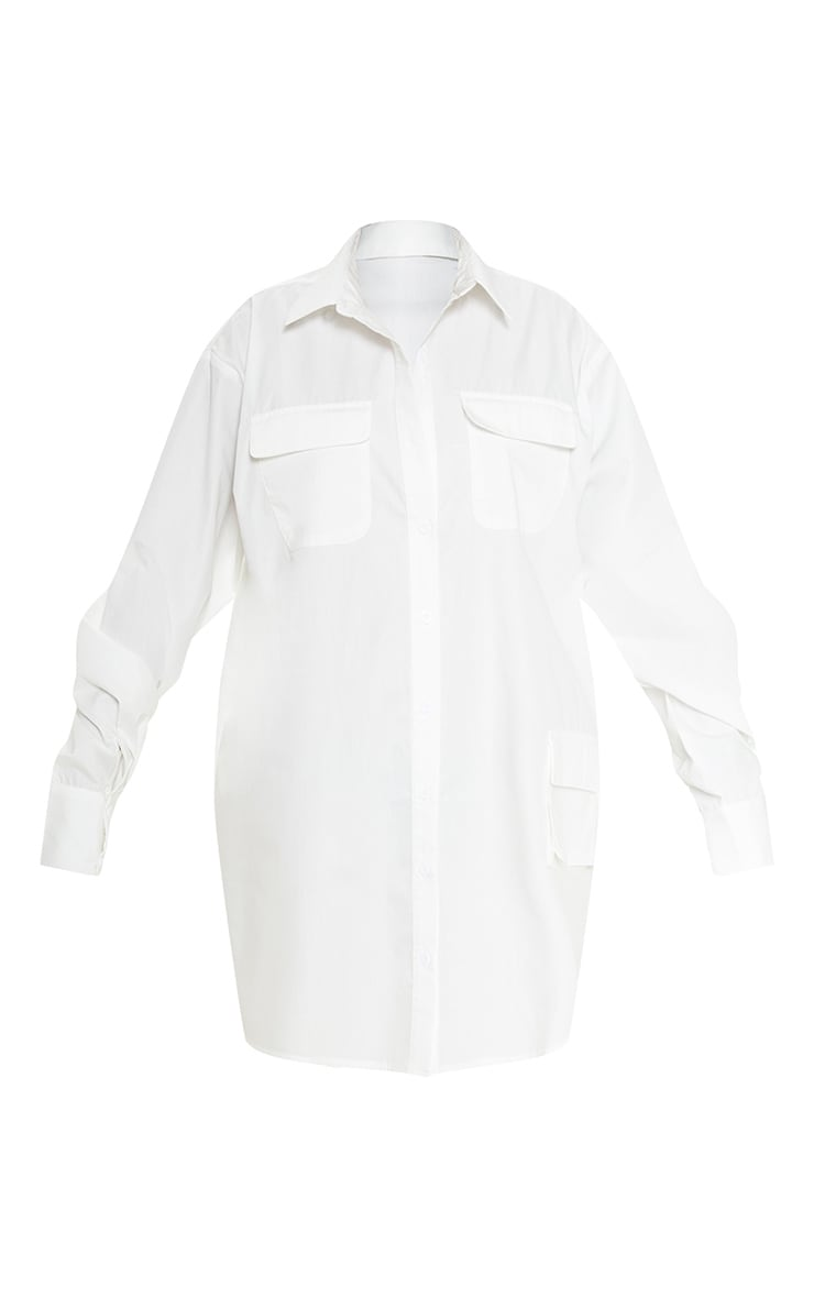 White Pocket Detail Long Sleeve Shirt Dress 3