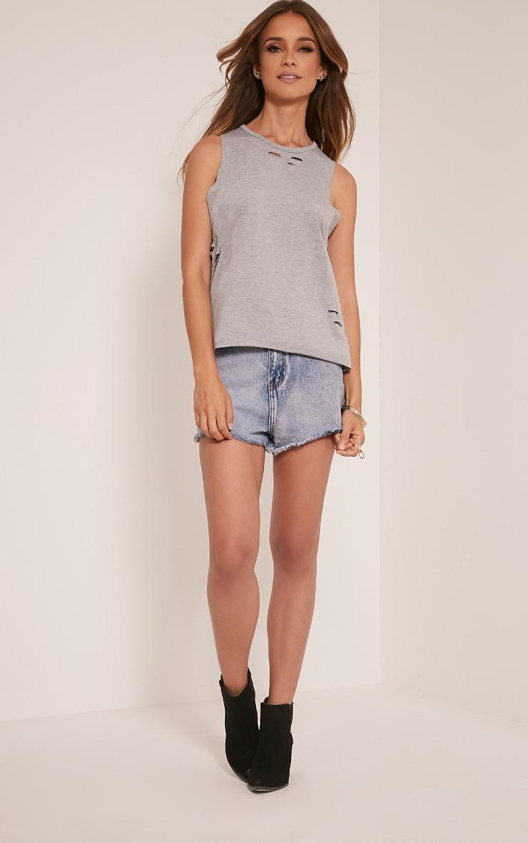 Ember Grey Ripped Drop Armhole T-Shirt 5