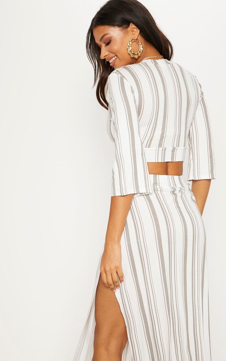 White Stripe Jersey Plunge Detail Crop Top 2