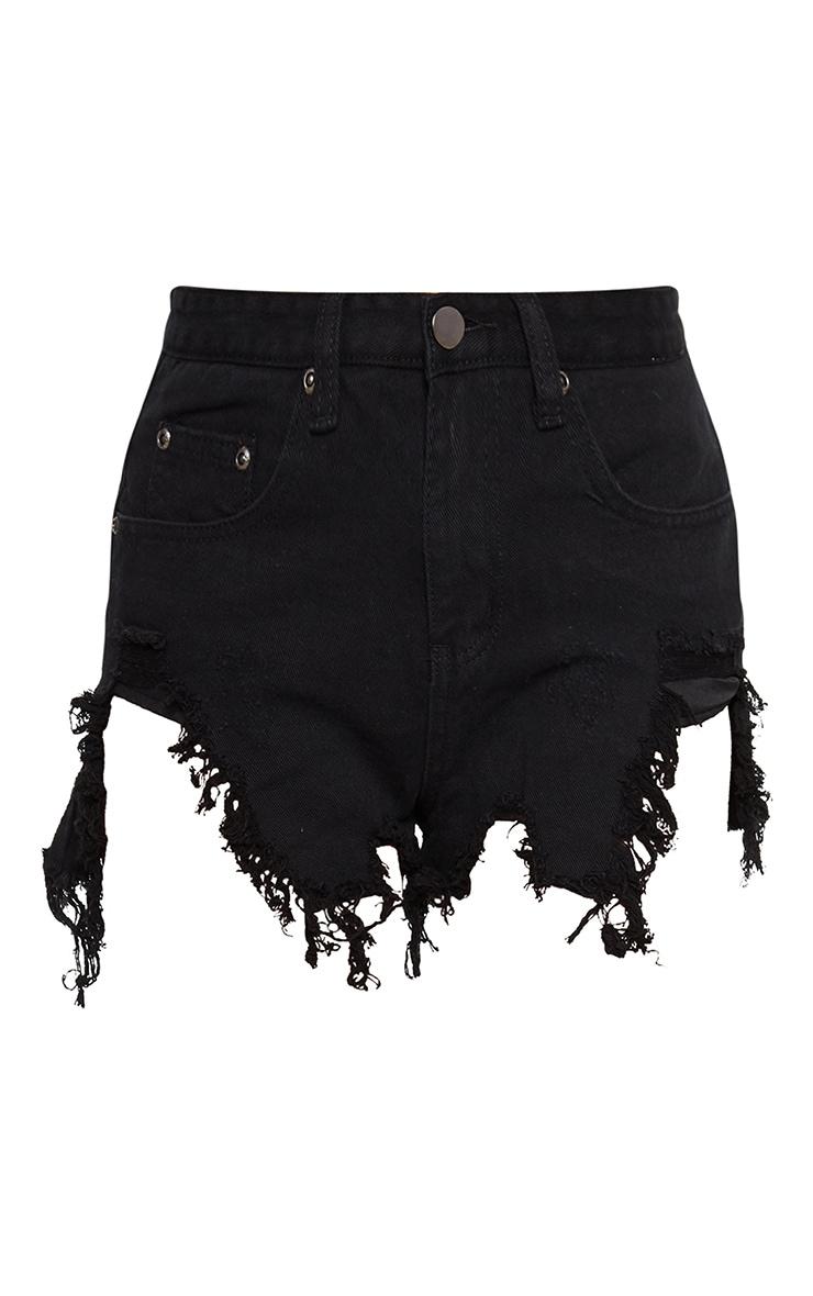 Black Extreme Thigh Rip Denim Short 3