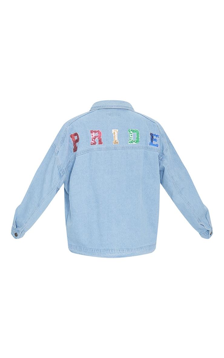 Mid Blue Wash Pride Sequin Embellished Denim Jacket 6