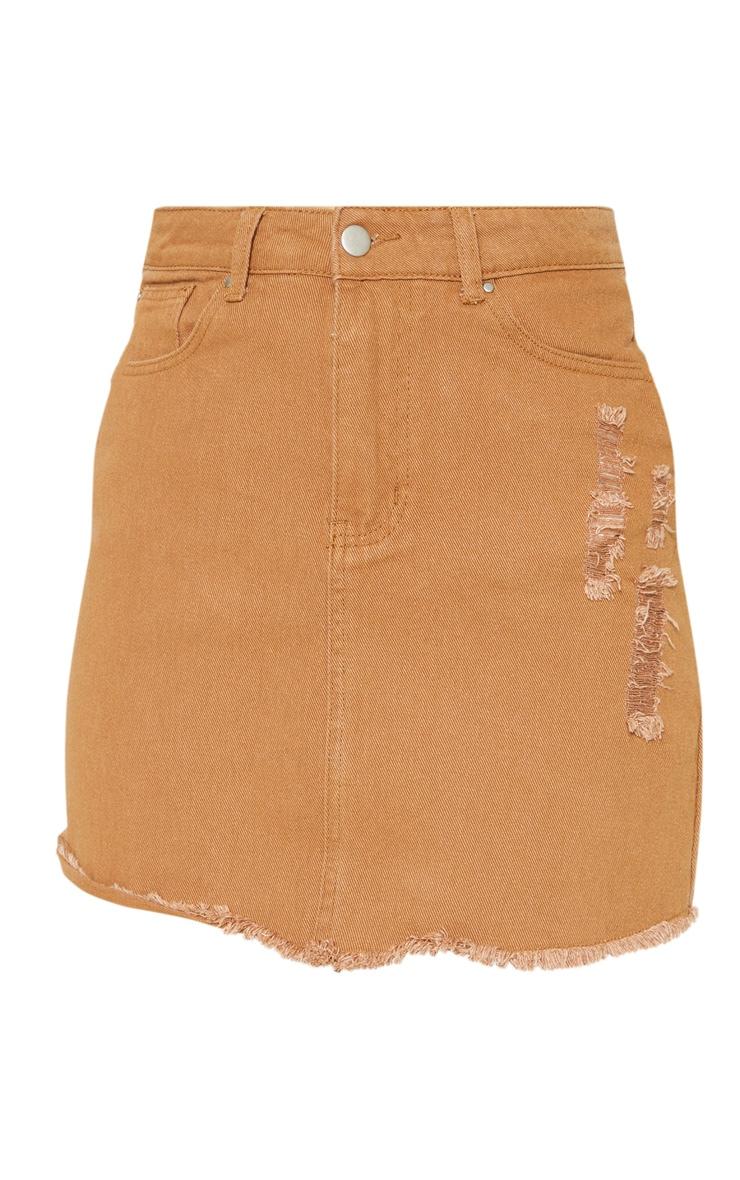 Sand Distressed Denim Skirt  3
