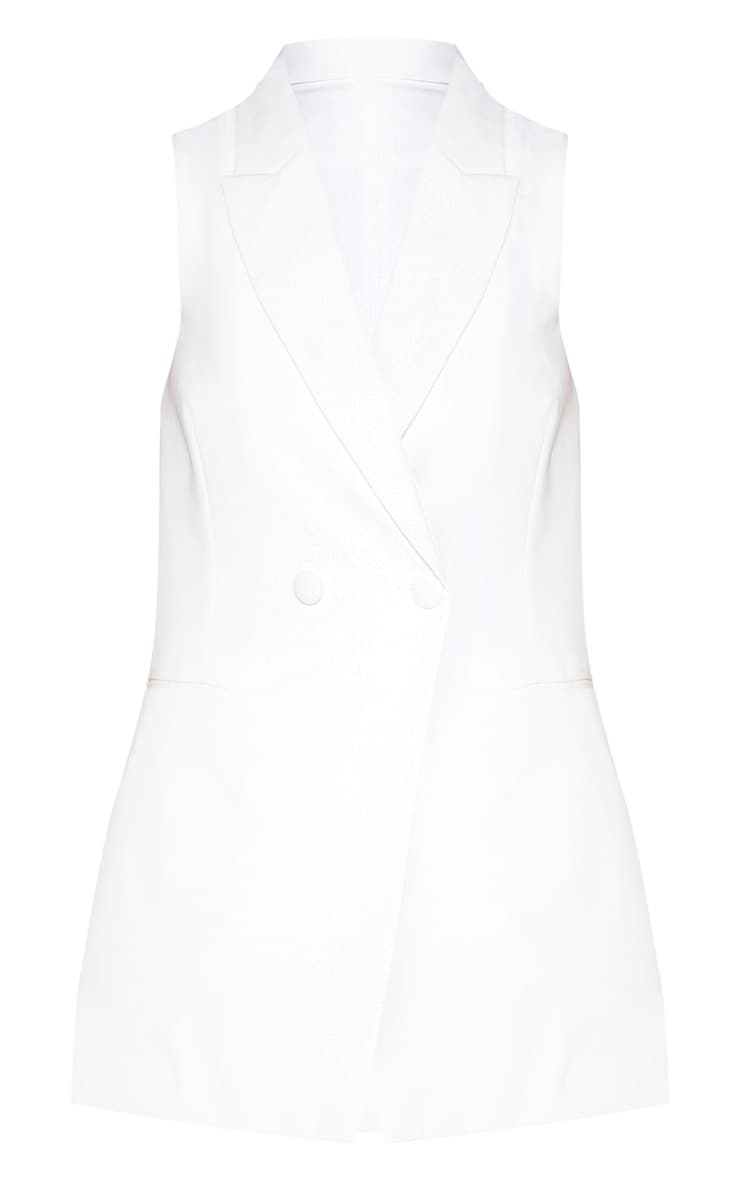 White Sleeveless Bodycon Blazer 4