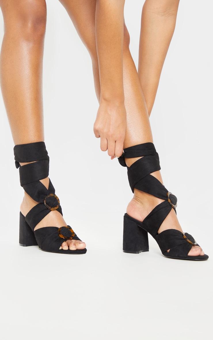 Black Tortoise Buckle Block Heel Sandal 2