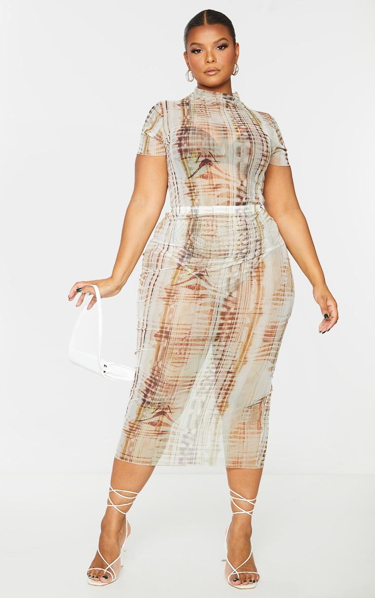 Plus Beige Textured Print Short Sleeve Mesh Bodysuit 1