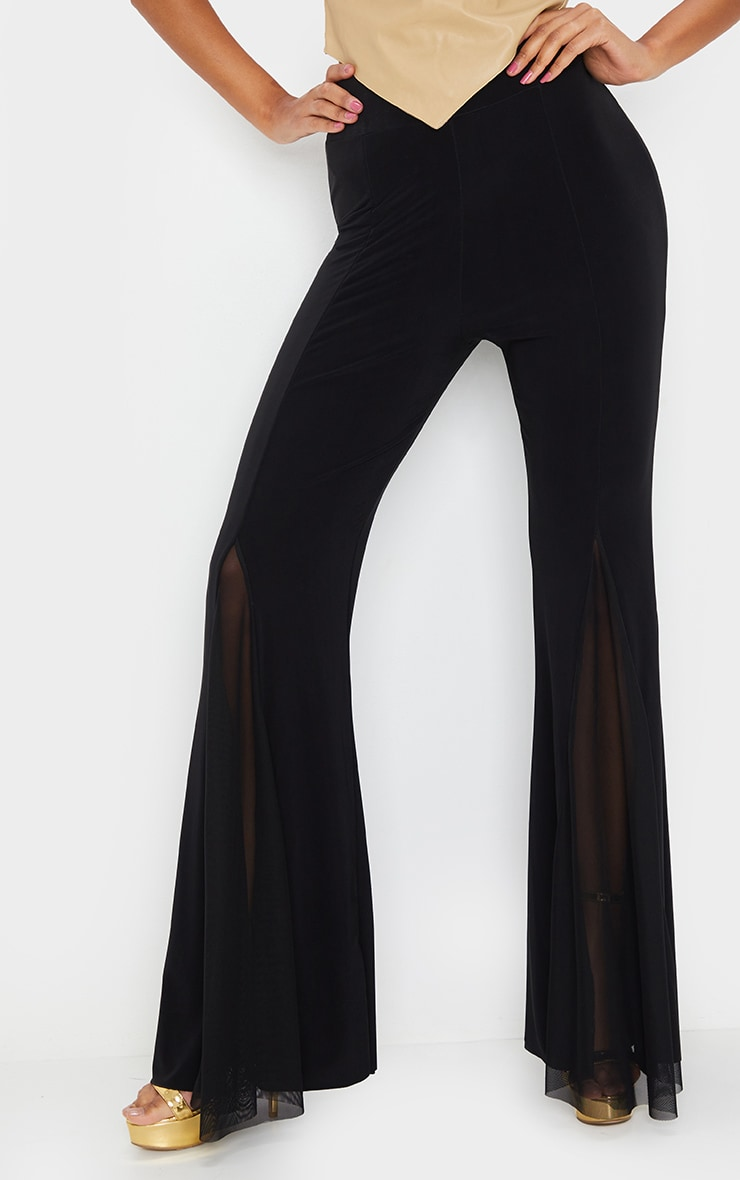 Black Slinky Sheer Panel Flared Trousers 2