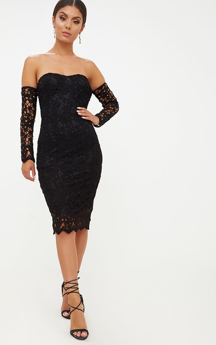 Black Lace Bardot Long Sleeved Midi Dress Prettylittlething