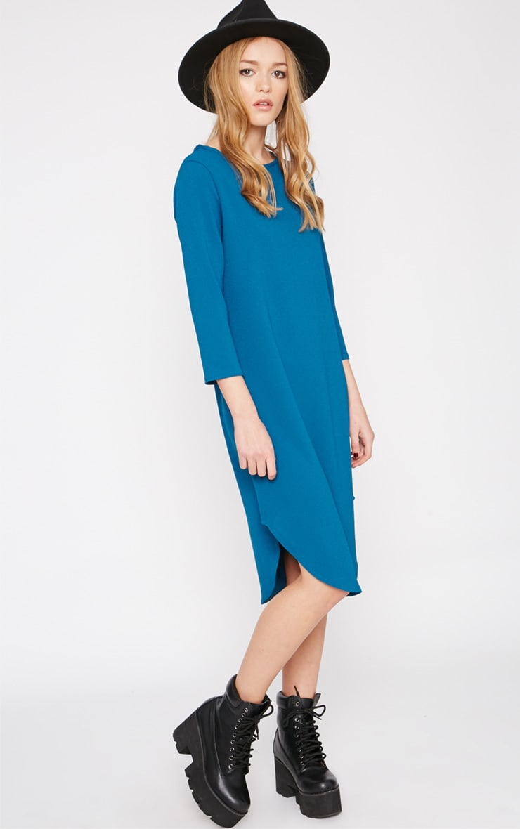 Camilla Teal Crepe Shift Dress 3