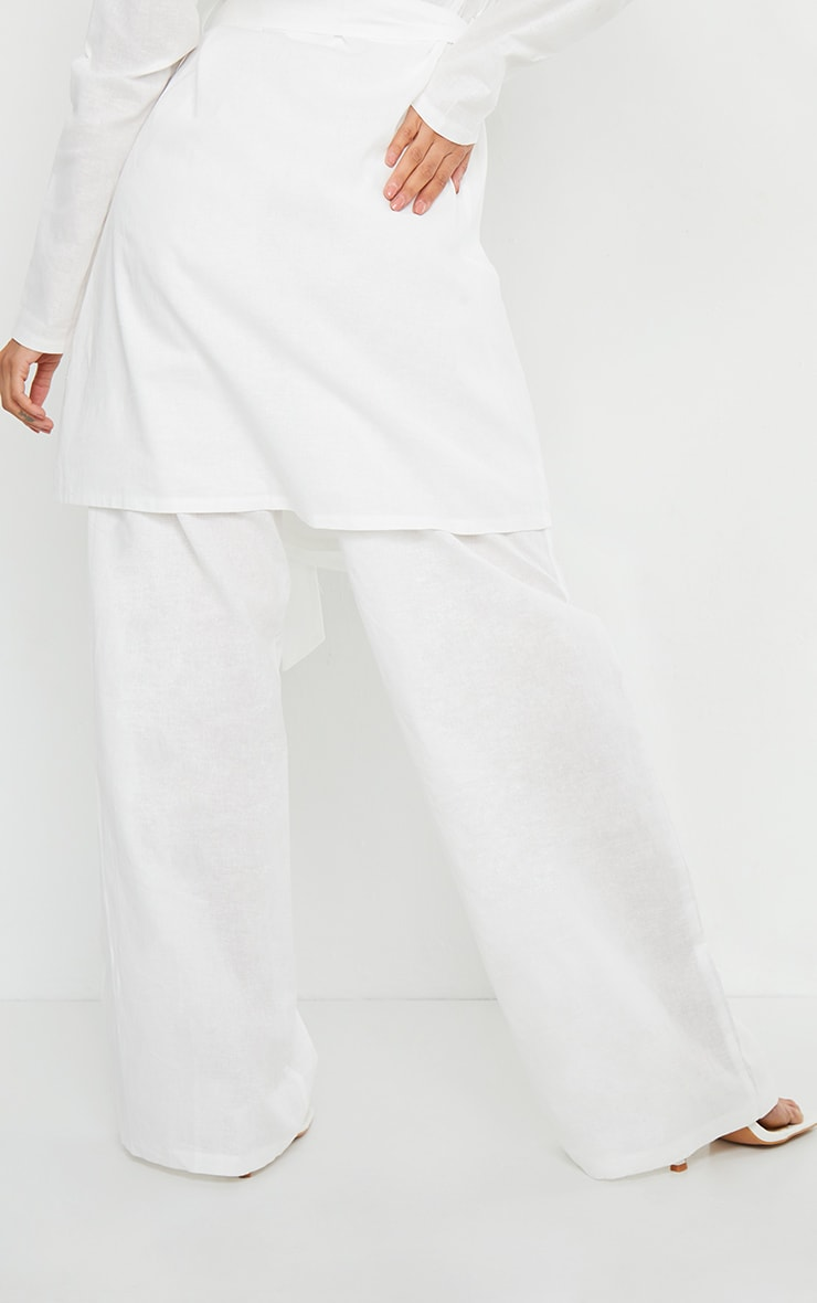 White Woven Wide Leg Pants 3