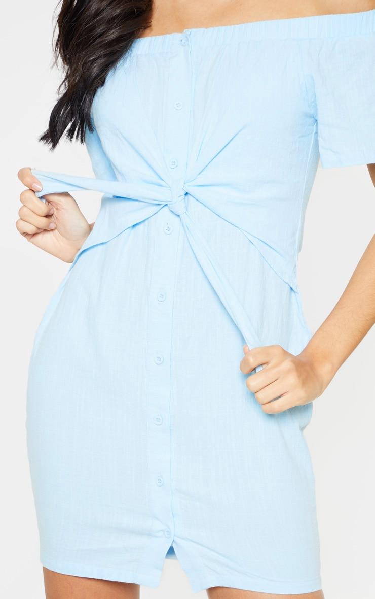 Baby Blue Tie Front Bardot Woven Bodycon Dress 5