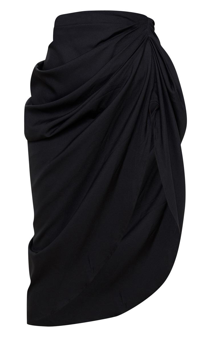 Petite Black Ruched Side Midi Skirt 3