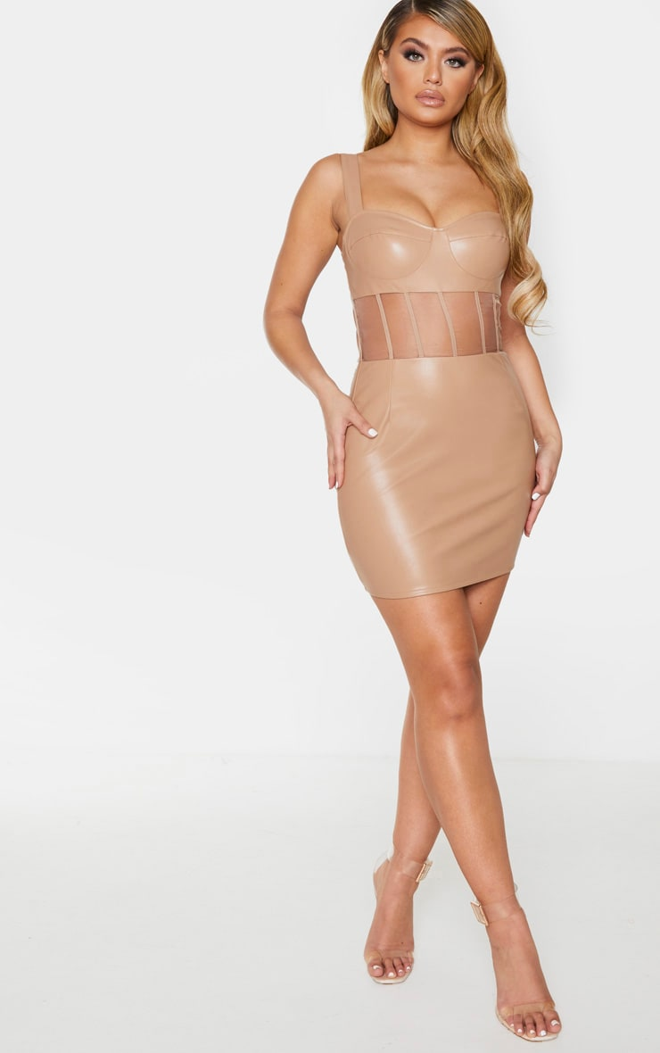 Taupe PU Mesh Binding Insert Sleeveless Bodycon Dress 3