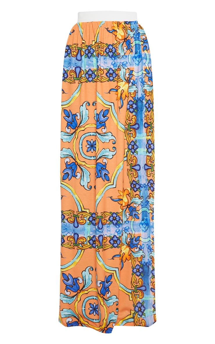 Orange Jersey Printed Maxi Skirt  3