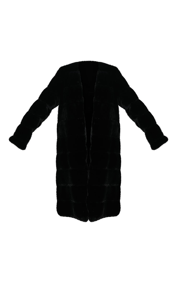 Black Premium Faux Fur Bubble Maxi Coat 6