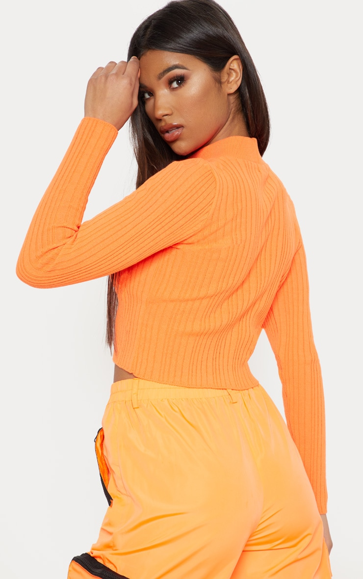 Bright Orange High Neck Knitted Rib Top  2