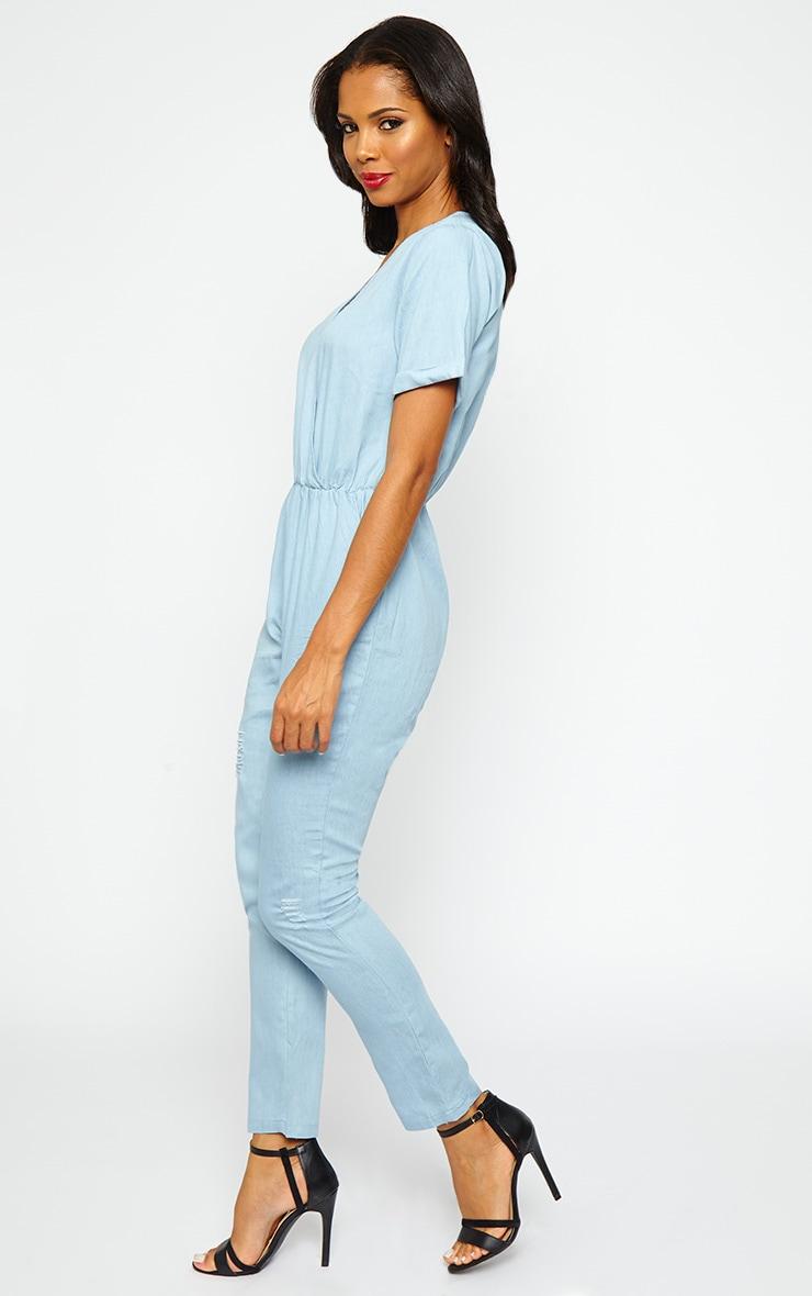 Doshia Blue Denim Wrap Jumpsuit 4