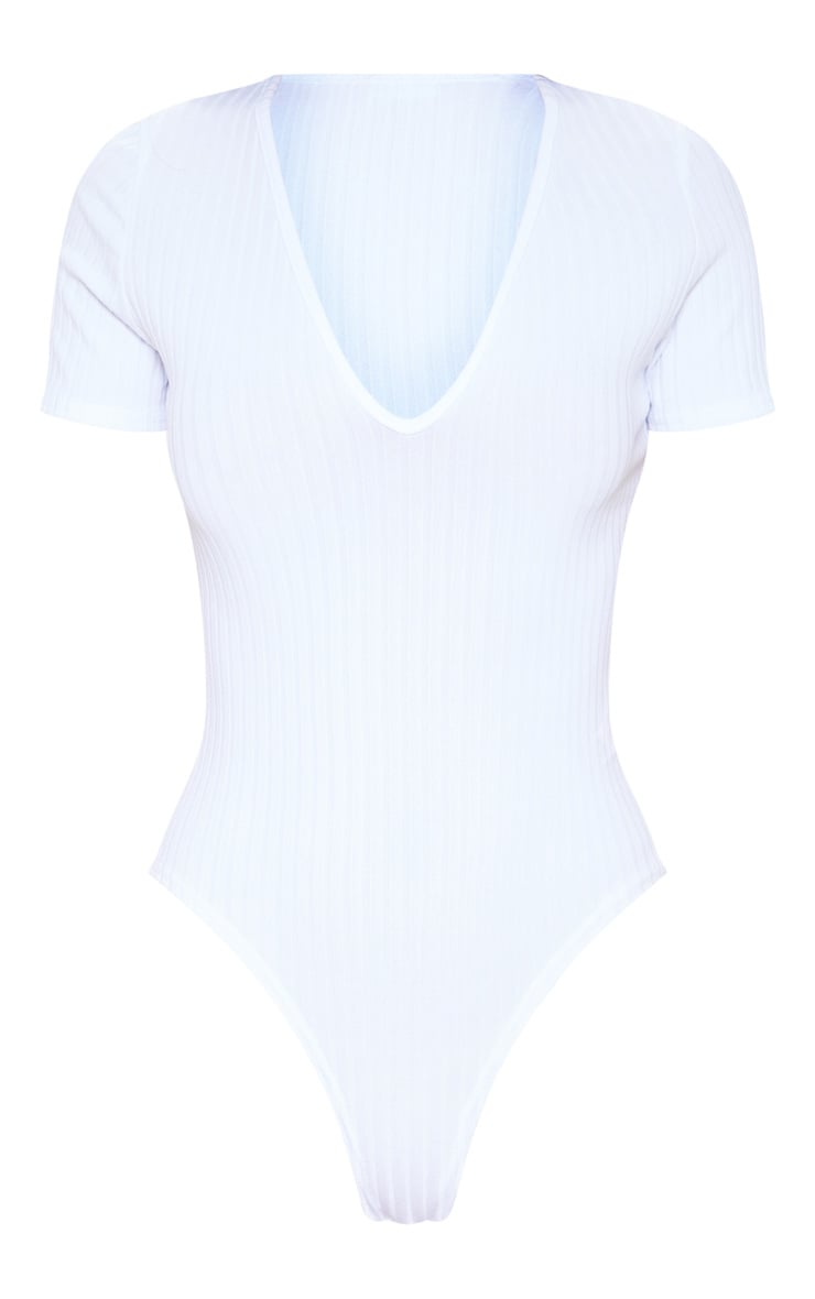 White Ribbed V Neck Short Sleeved Bodysuit 3