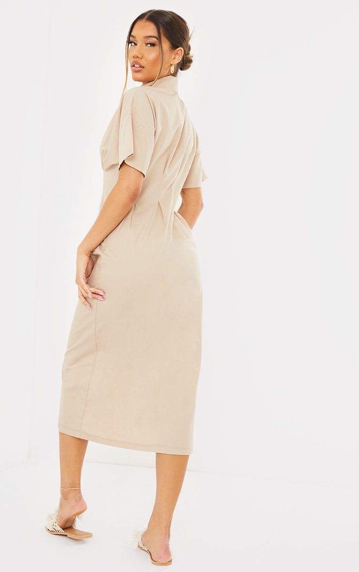 Stone Fitted Waist Short Sleeve Midi Shirt Dress 2