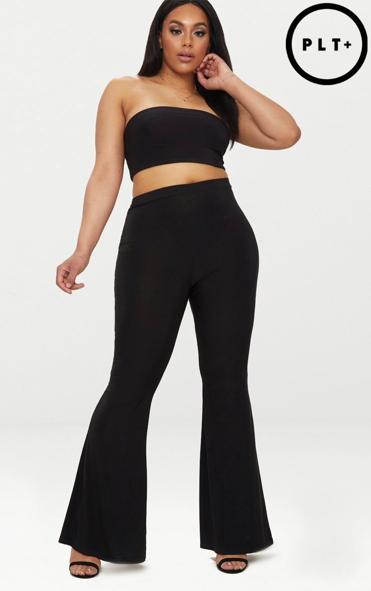 Plus Black Slinky Flared Leg Trousers