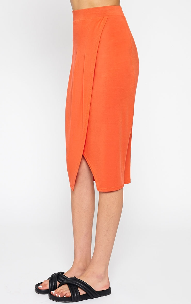 Sabbina Orange Jersey Wrap Midi Skirt 4