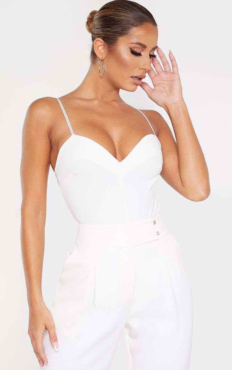 White Sweetheart Neck Strappy Bodysuit 1