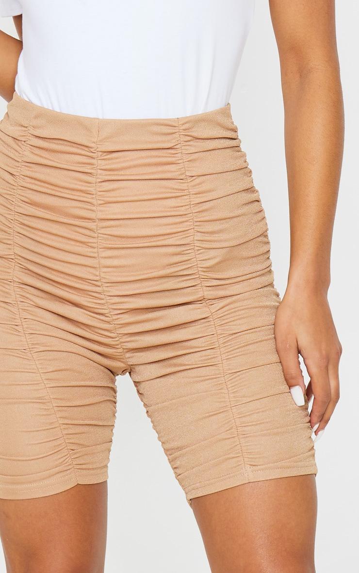 Camel Ruched Bike Shorts 6