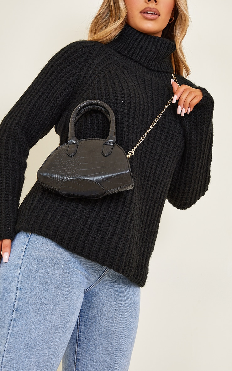 Black Croc Rounded Mini Cross Body Bag 1