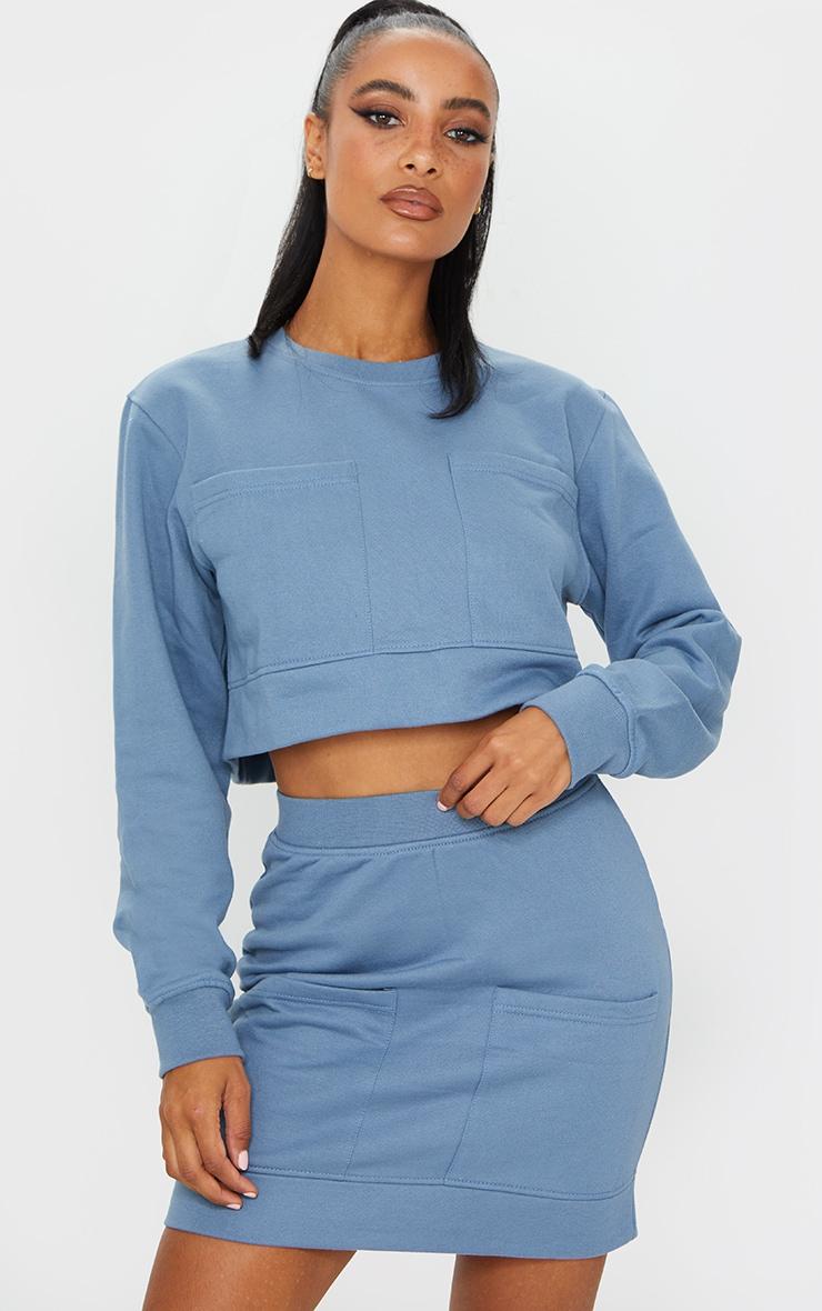 Blue Pocket Detail Cropped Sweater 1