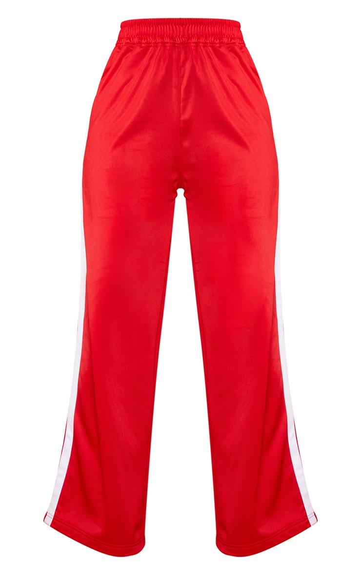 Petite Red Sports Stripe Wide Leg Joggers 5
