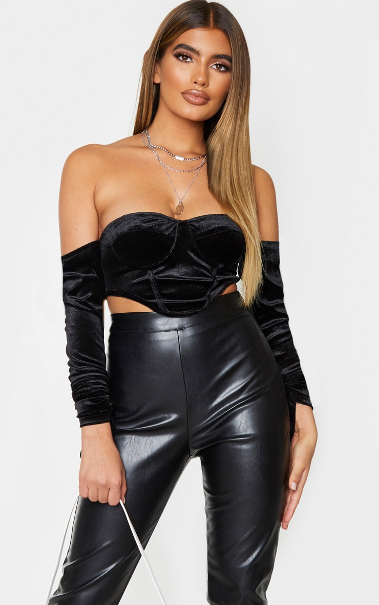 Black Velvet Diamante Side Detail Cup Bodycon Dress 1