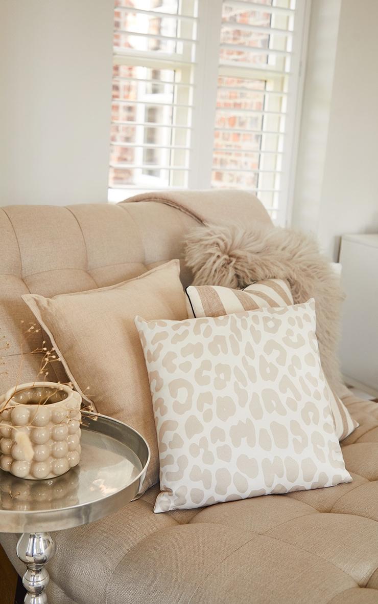 Cream Satin Leopard Print Filled Cushion 1