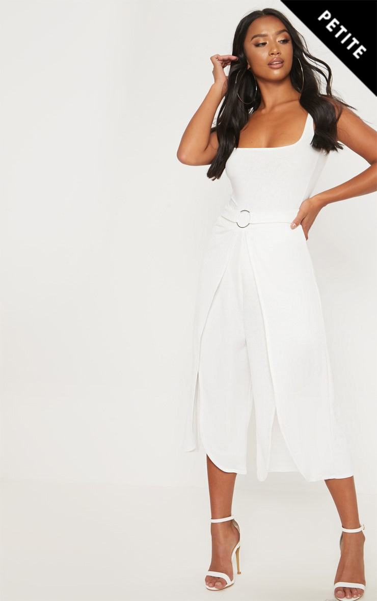 Petite  White Ring Detail Culottes 1