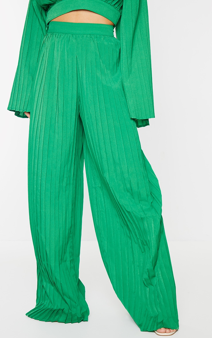 Bright Green Wide Leg Pleated Trousers 2