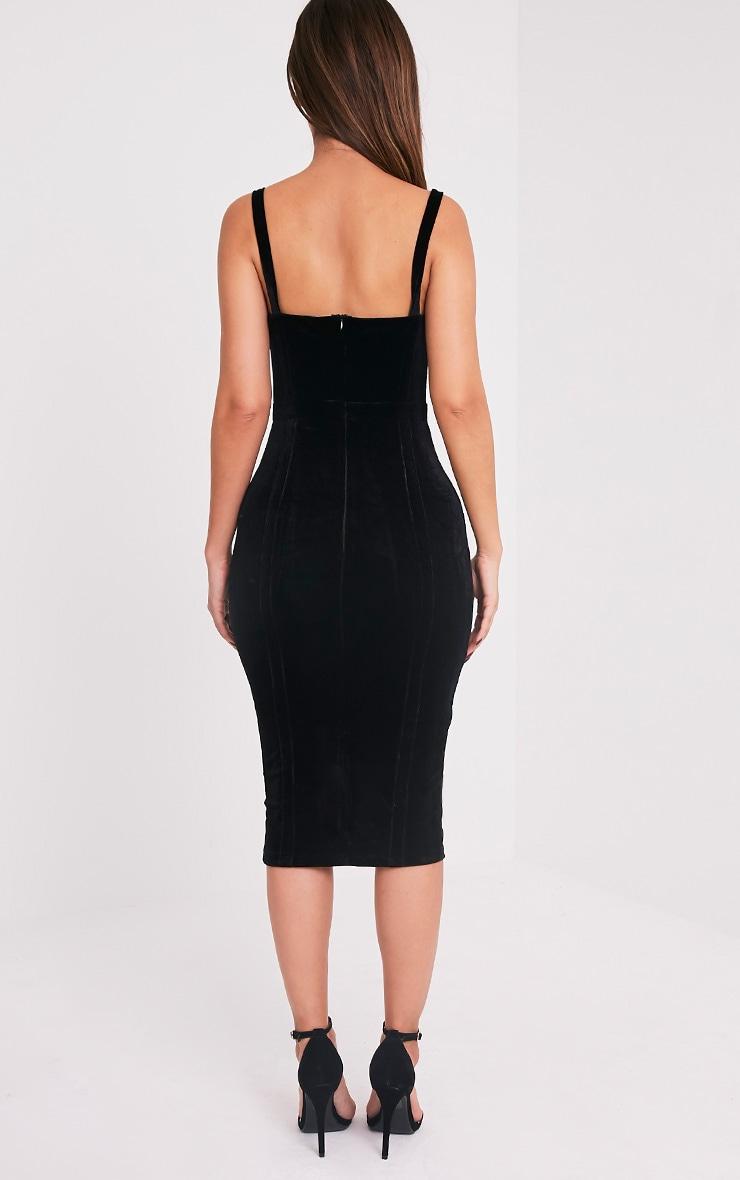 Garcia Black Velvet Panel Midi Dress 2
