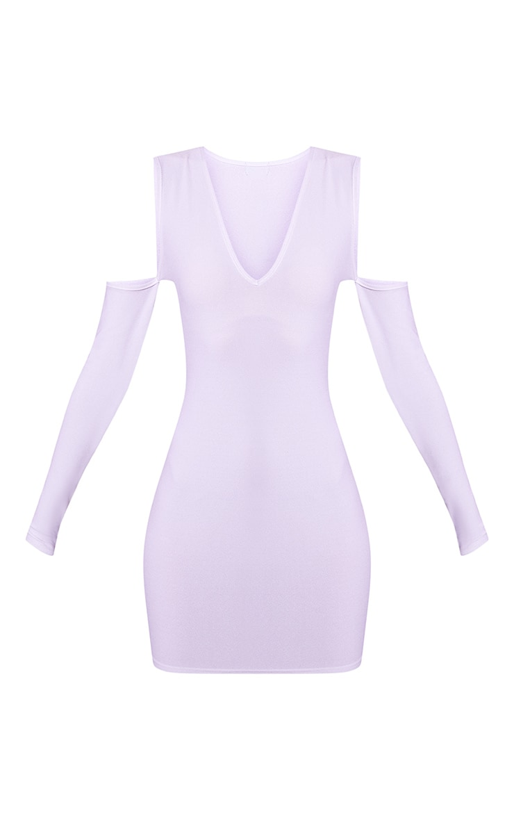 White Cold Shoulder Long Sleeve Plunge Bodycon dress 3