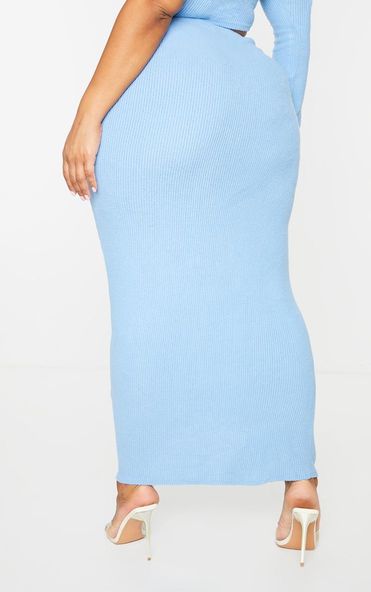 Plus Baby Blue Brushed Rib Midaxi Skirt 3