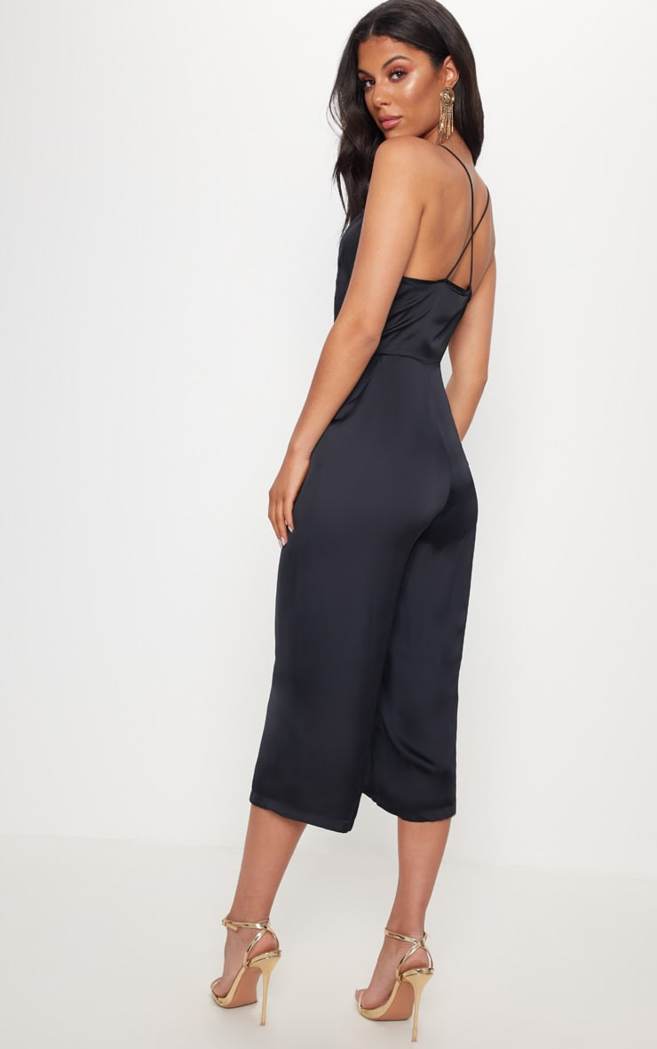Black Strappy Back Plunge Culotte Jumpsuit 2