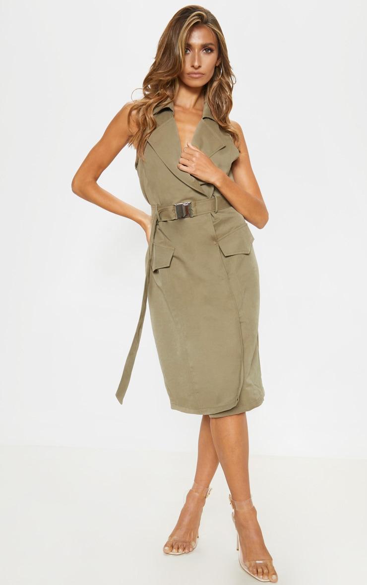 Khaki Buckle Trench Style Midaxi Dress 1