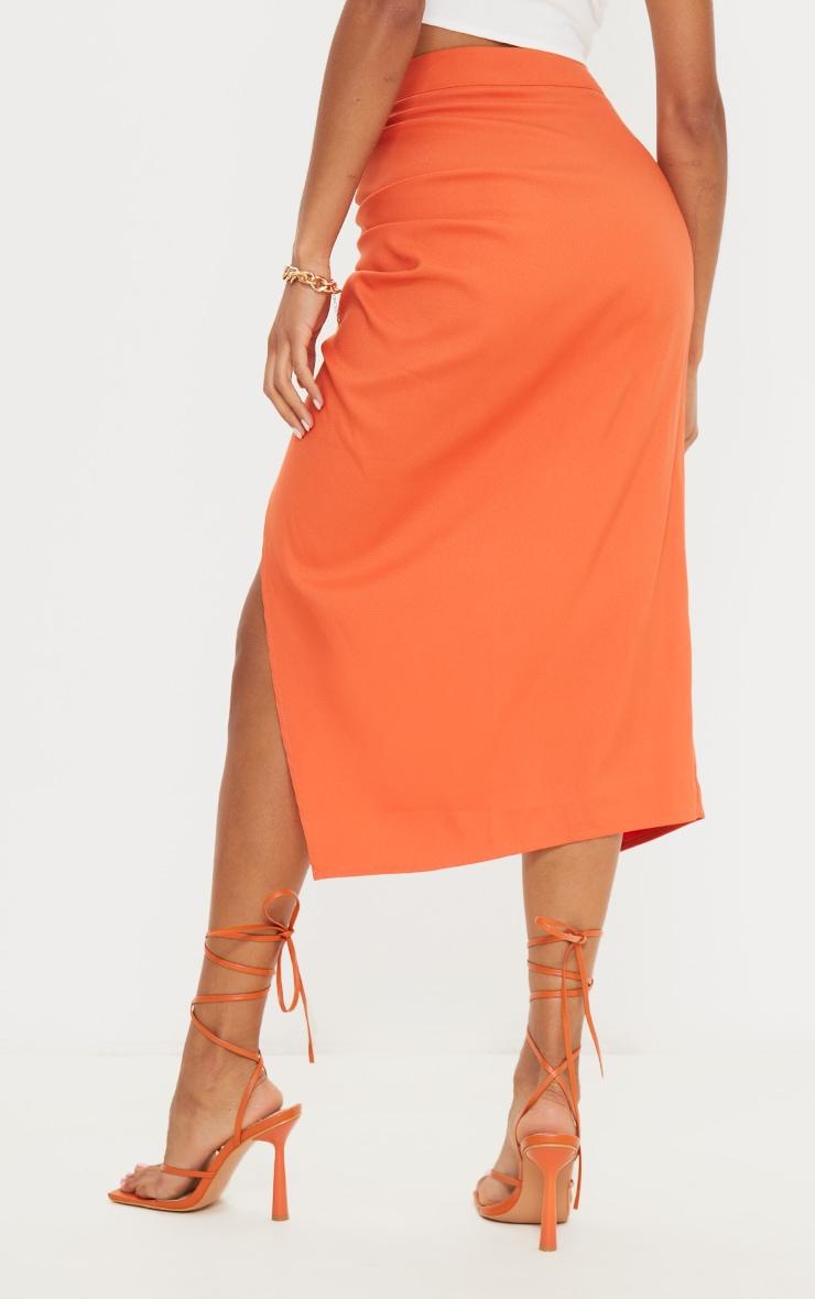 Burnt Orange Woven Ruched Detail Midi Skirt 3