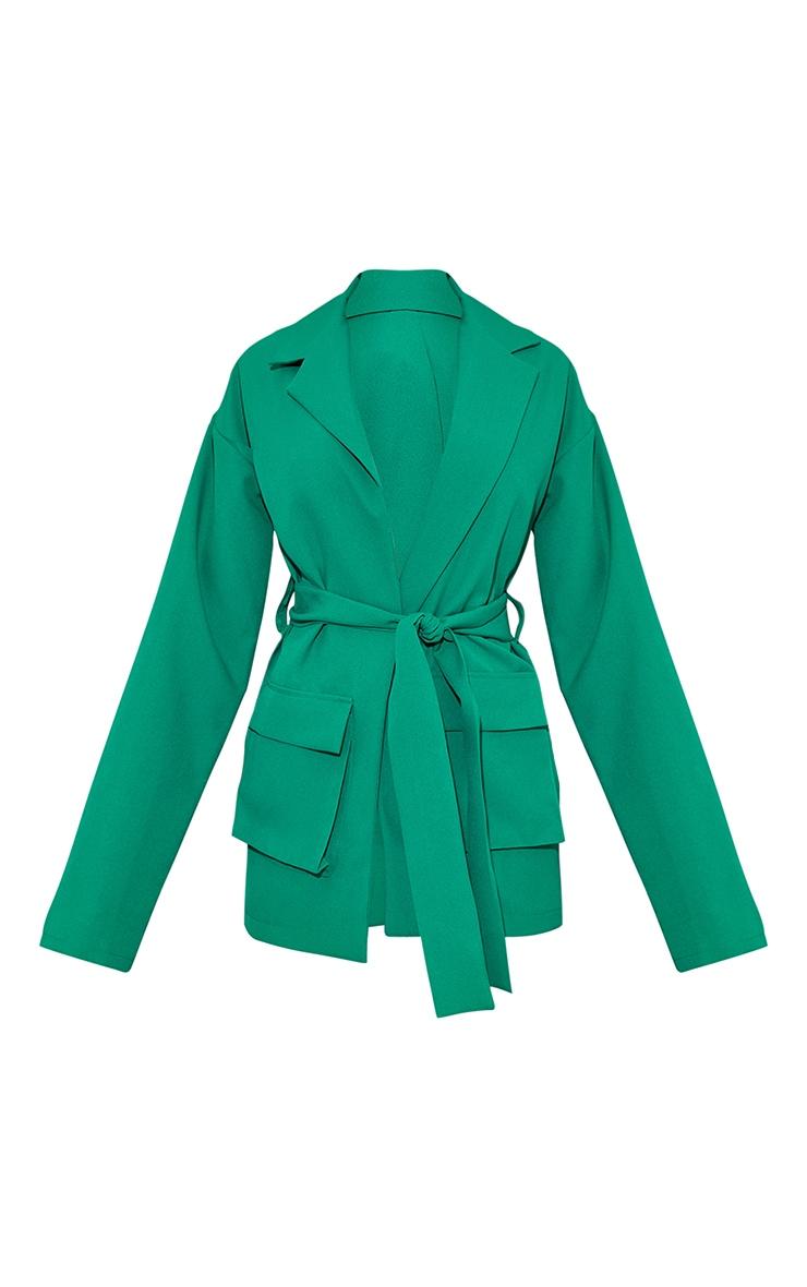 Emerald Green Woven Pocket Detail Belted Utilty Blazer 5