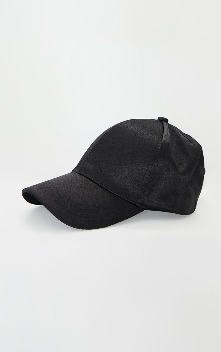 Black Satin Baseball Cap 1
