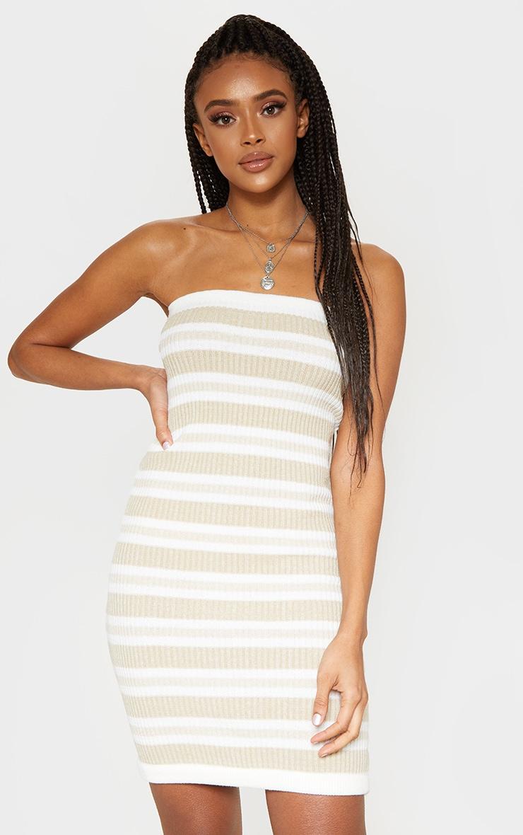 Cream Tonal Striped Knitted Bandeau Dress  1
