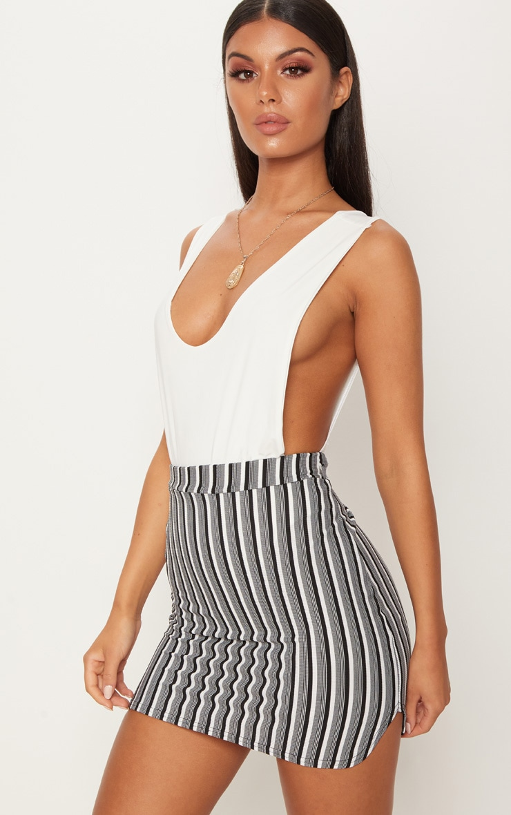 Black Stripe Scuba Curve Hem Mini Skirt 1