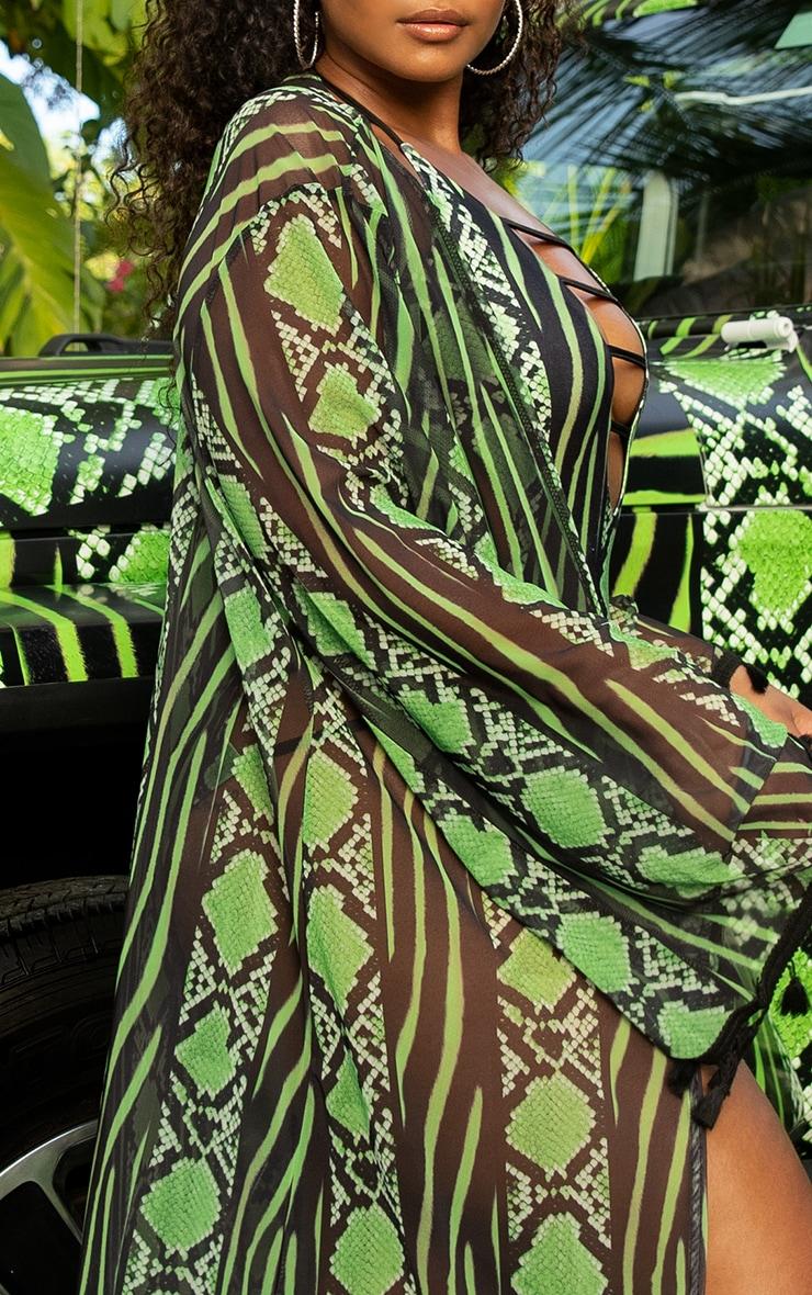 Plus Lime Snake Print Mesh Tassel Kimono 5